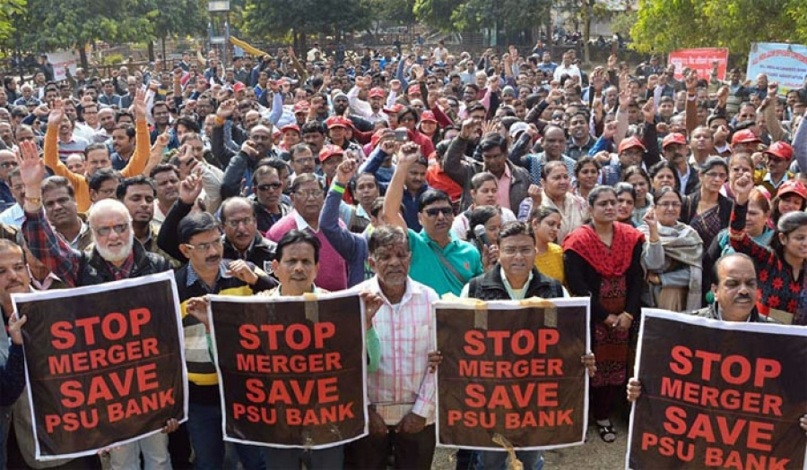AGAINST THE DESTRUCTIVE DECISION OF  BJP GOVT'S HECTIC MOVE FOR MERGER OF  BANKS